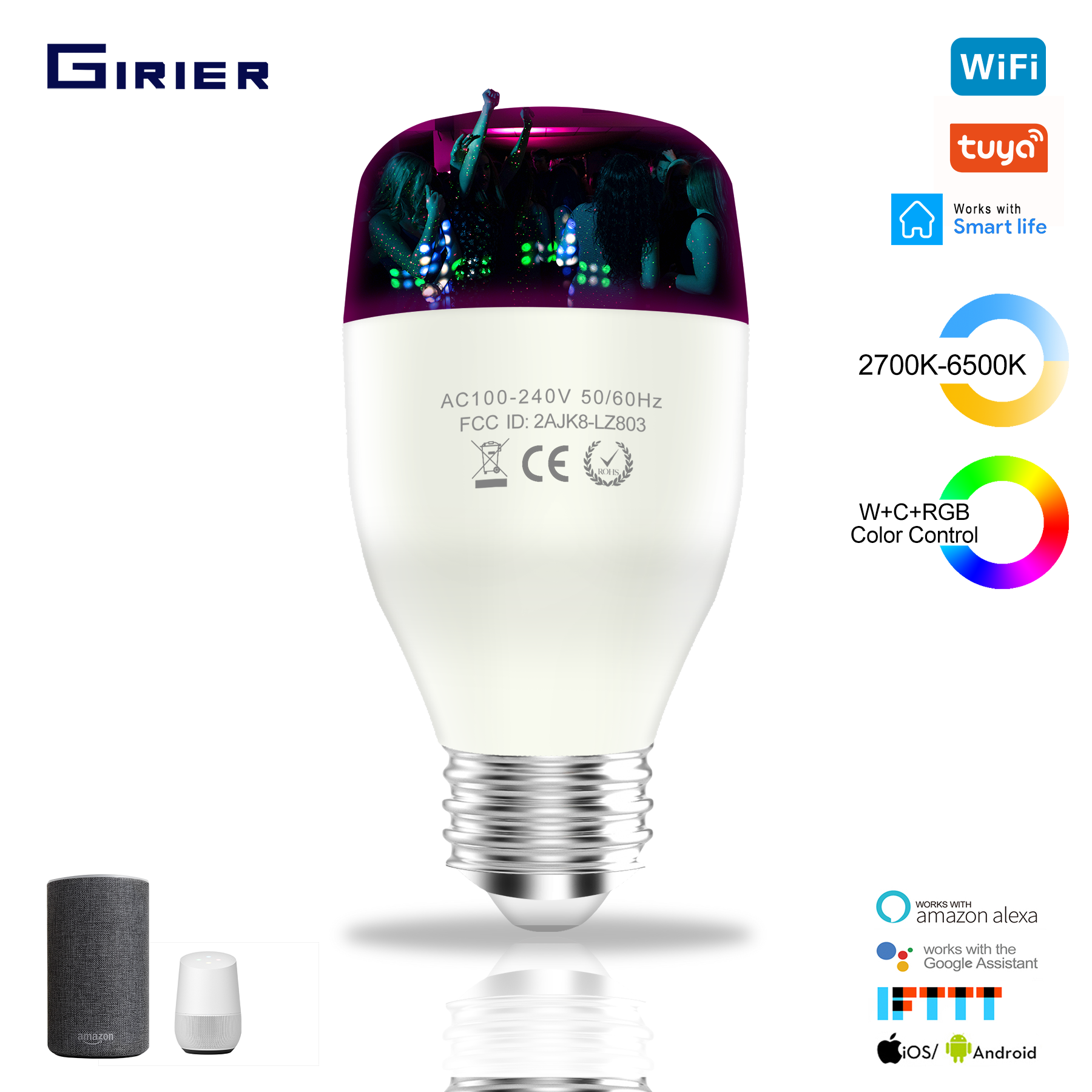 E26/27 Smart Wifi LED Bulb 7/9W WCRGB Tuya Smart Dimmable Lamp Bulb Color Changing With Music Compatible With Alexa Google Home