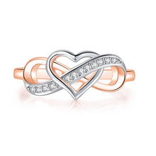 Rings for Jewellery Gift Engagement Infinite Wedding Women Love DZR029 Double-Color-Plated