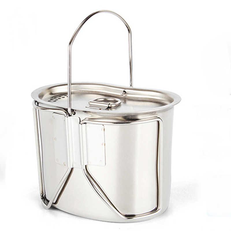 弁当箱軍-版薪ストーブセット屋外のキャンプ 304 ステンレス鋼調理器具水筒カップポットハンギング保釈ハンドル