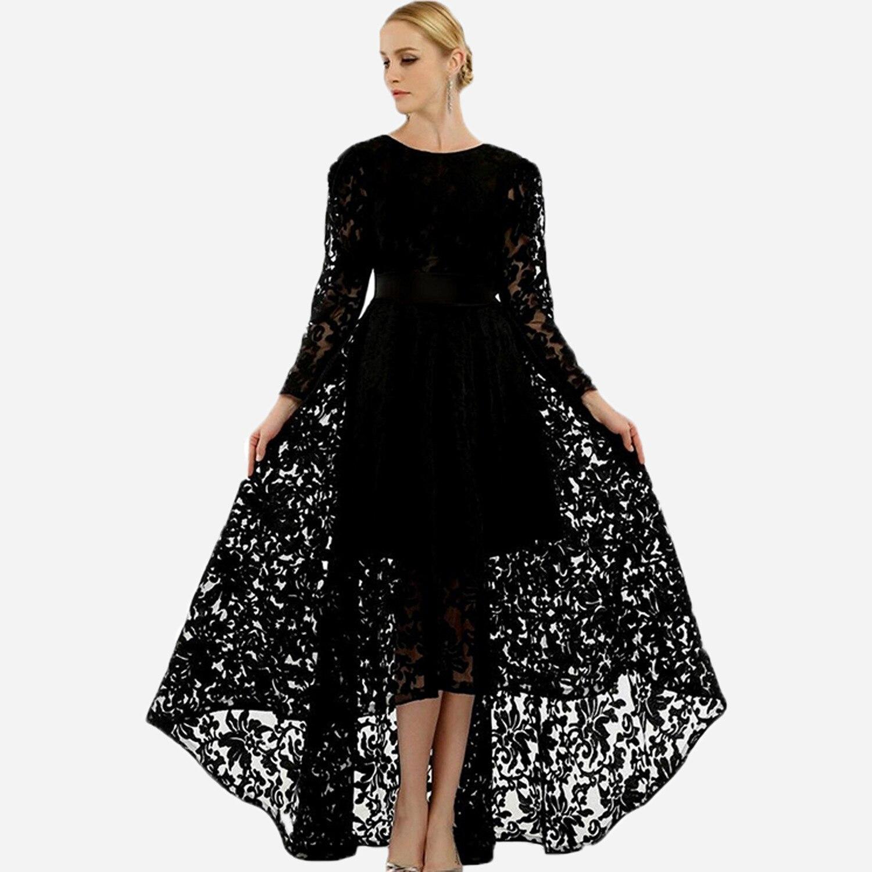 BGW 2020 Black Lace A Line Cut Out Pretty Evening Dresses Long Sleeves Zipper Back Vestido De Noite Longo Do Baile De Finalistas