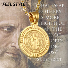 Medal Pendant Catholic San Benito Exorcism Religiosas Male Jewelry Necklace Jesus
