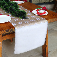 Snowflake Table Runner For Christmas Faux Fur With Gold Sparkly Sequin Decorations New Year Xmas Party Banquet Gift