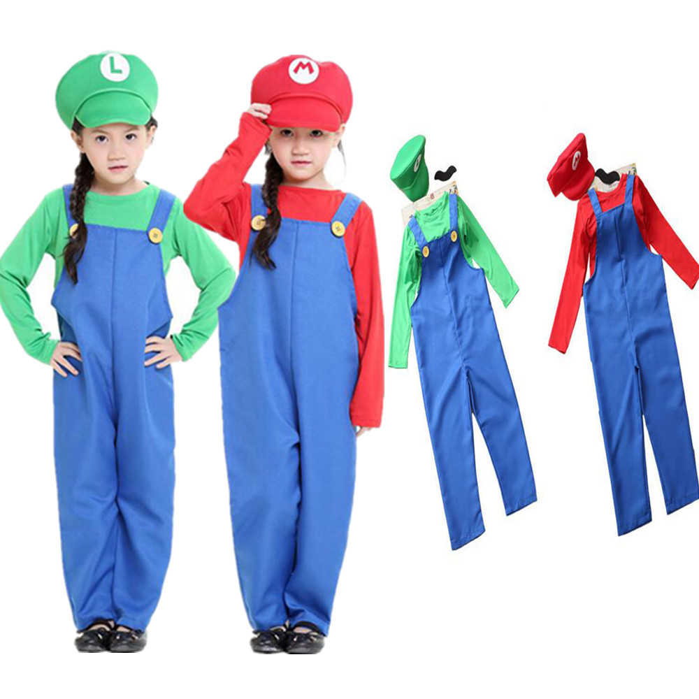 Unisex Halloween Costumes Funny Super Mario Luigi Brother Costume