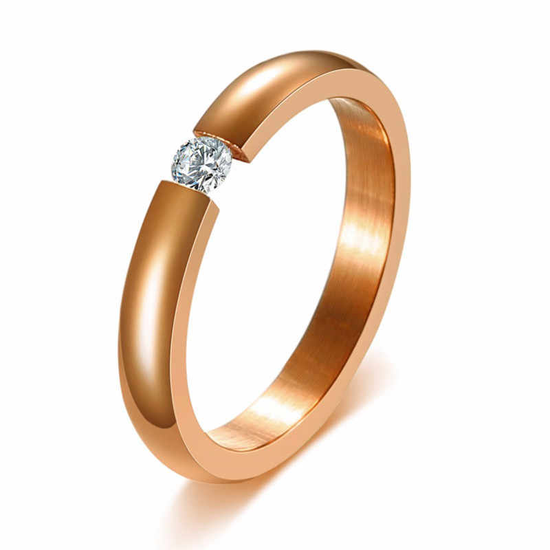 Zorcvens Trendi Terang 585 Mawar Emas Nada Cincin Pertunangan untuk Pasangan Stainless Steel dengan CZ Batu Pria Wanita Pernikahan Band