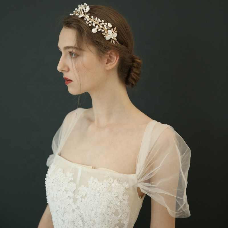 Npason Grosir Banyak Massal Kristal Buatan Tangan Dewasa Mahkota Emas Manik-manik Mutiara Tiara Pengantin Pernikahan Mahkota Rambut