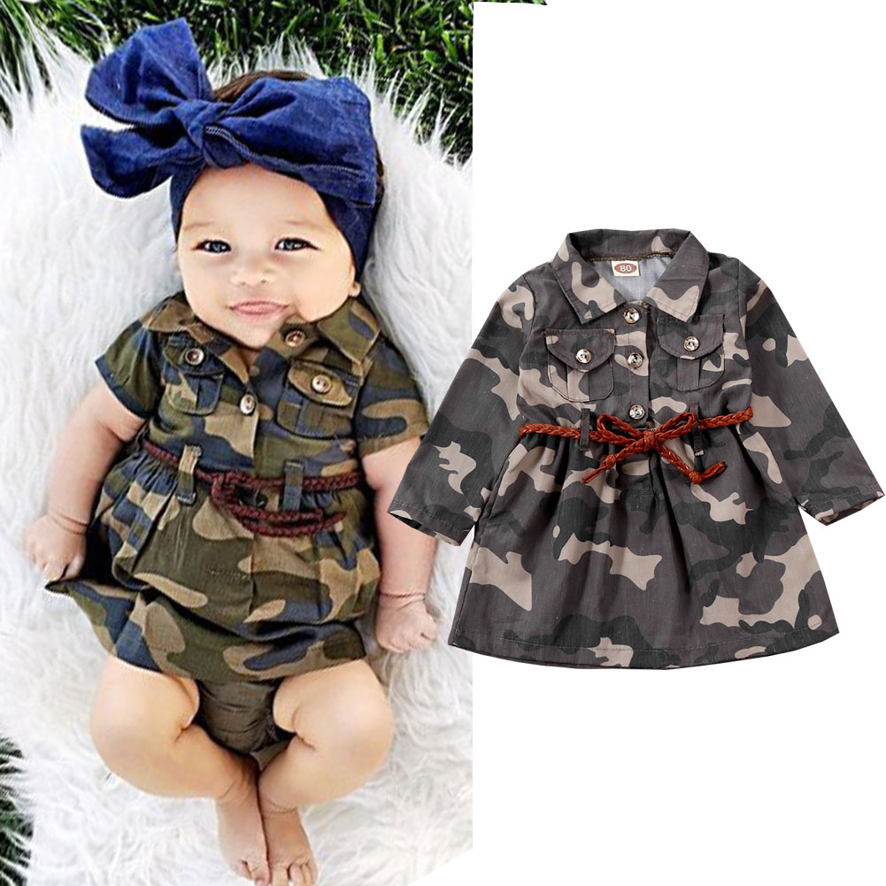 Newest Arrival Toddler Baby Girls Boy Kids Long Camouflage Tops Jackets + Belt Summer Casual Fashion Outfits Clothes