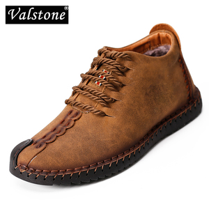 Valstone Spring Winter boots for Men Vintage Leather sneakers size 48 Retro Ankle boots Mid-Top handmade shoes Zapatos de hombre
