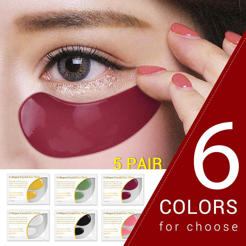 Mavi Bina 24K Altın Kollajen Göz Maskesi Koyu Daire 6 Renk 1 Çift Anti-Aging Kırışıklık Yüz maskesi Jel Göz Yamaları Cilt Bakımı
