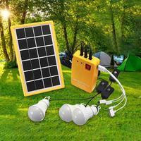 في الهواء الطلق ألواح الطاقة الشمسية المحمولة مولد كهربائي 3 LED لمبة نظام الطاقة عدة للإضاءة في الهواء الطلق