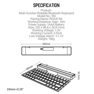Image 2 - R4 Portable Rollable Wireless Bluetooth Keyboard for iOS ANdroid Windows Device Red, Blue, Black(Optional)