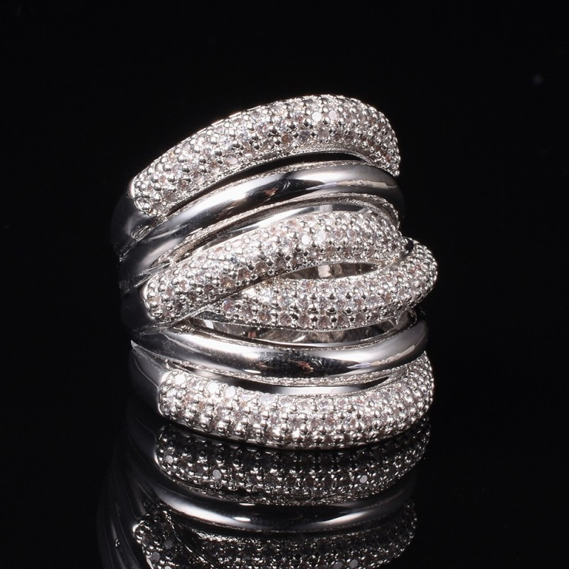 Luxury 925 Sterling silver More X-type with Pave setting 238pcs Diamond Wedding Cocktail rings for Women gemstone Jewelry gift