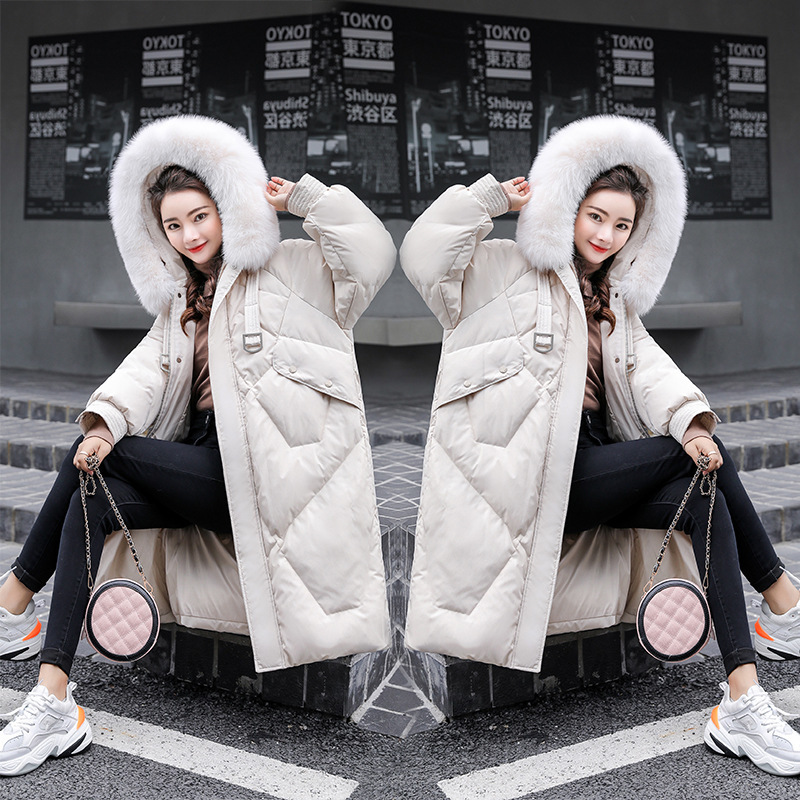 Duck White Down Jacket Women Clothes 2020 Long Down Coat Winter Fox Fur Collar Korean Jackets Kurtka Damska KJ3460 S