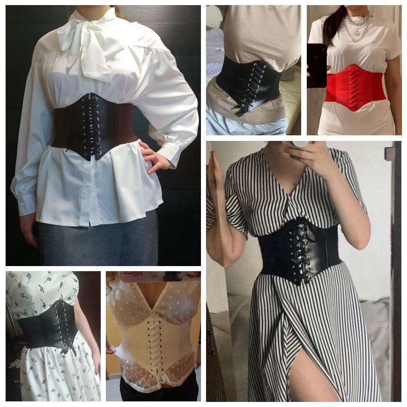 2021 Corset Wide Belts Pu Leather Slimming Body Belts for women Elastic Waist Belts cinto sobretudo feminin ceinture femme fajas