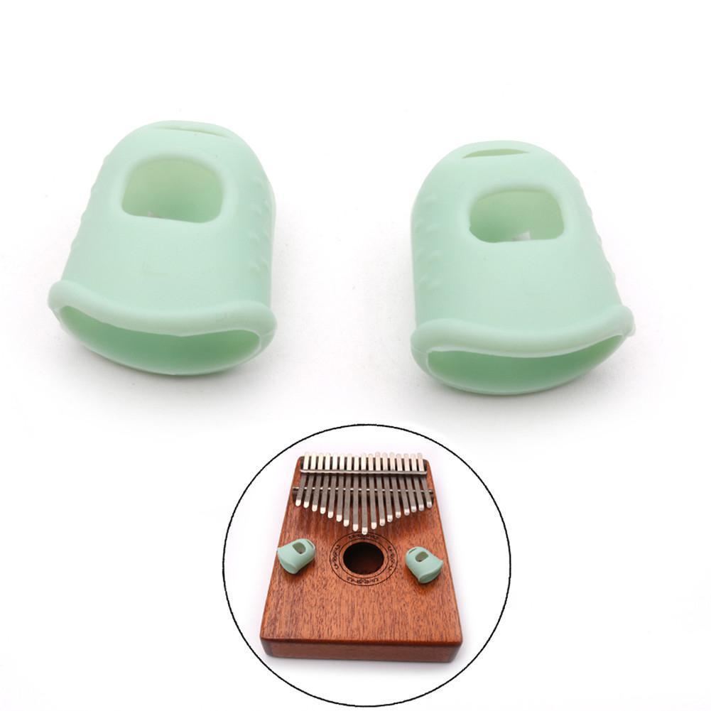 1 Pair Kalimba Guitar Thumb Finger Picks Protector Silica Gel Finger Cots Fingertip Nail Protection Cover