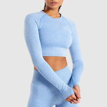2020 New Women's Fitness T-Shirt Sport Crop Top Long Sleeve Layer Crew Neck Power Stretch Yoga Crop Top Sexy Gym Clothing white high neck crop cami top