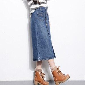 Image 3 - גבוהה מותן בתוספת גודל כפתור עד ארוך ג ינס ישר חצאית 16 18 20 4Xl 5Xl 6Xl 7Xl אור לשטוף כחול ג ינס חצאיות עם כיסים