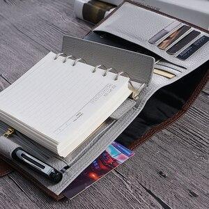 Image 4 - Lederen Notebook A6 Size Planner Litchi Grain Organisator Ringen Bindmiddel Cover Dagboek Dagboek Schetsboek Agenda Grote Pocket