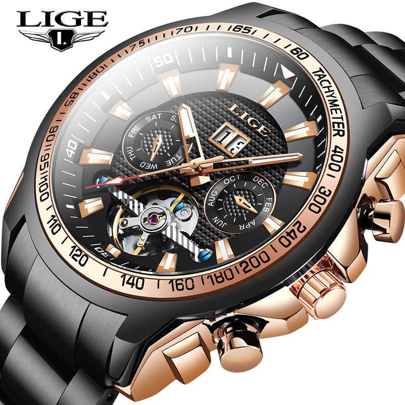 LIGEแฟชั่น 100 เมตรกันน้ำLuminous Automatic Mechanicalนาฬิกาผู้ชายLuxury Tourbillonธุรกิจนาฬิกาผู้ชาย