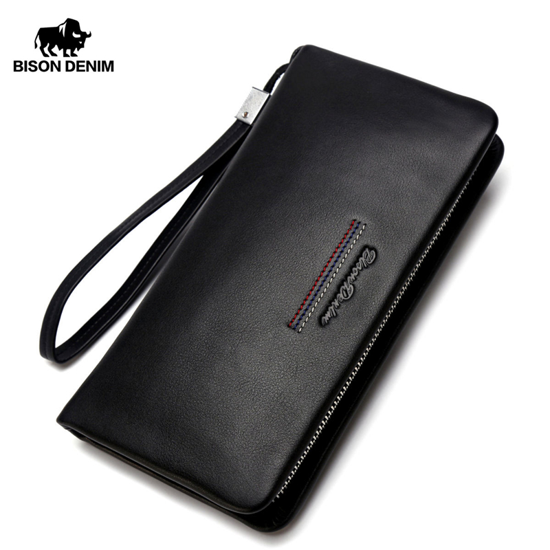 BISON DENIM Male Clutch Genuine Leather Men's Wallet Long Wallet Brand Cowskin Card Holder Coin Purse Men Business Wallet N8069
