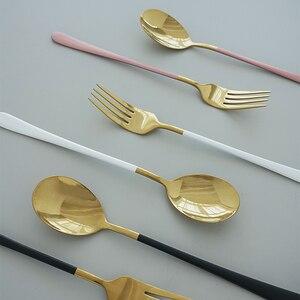 Image 2 - Utensílios de talhares ocidental, talheres de aço inoxidável, colher, garfo, faca para salada de espaguete, bife, comida, fotografia, adereços de decoração de tiro