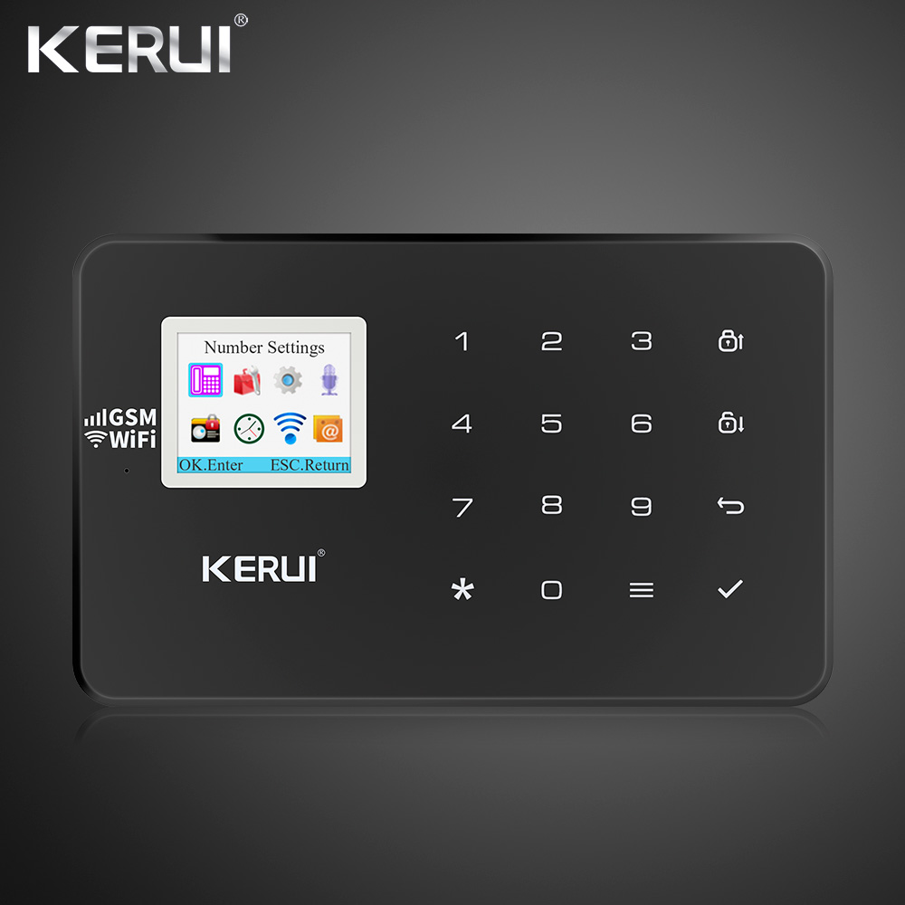 2019 Latest Kerui W18 Wireless Wifi GSM  Home Alarm Kit APP Control LCD GSM SMS Burglar Alarm System For Home Security