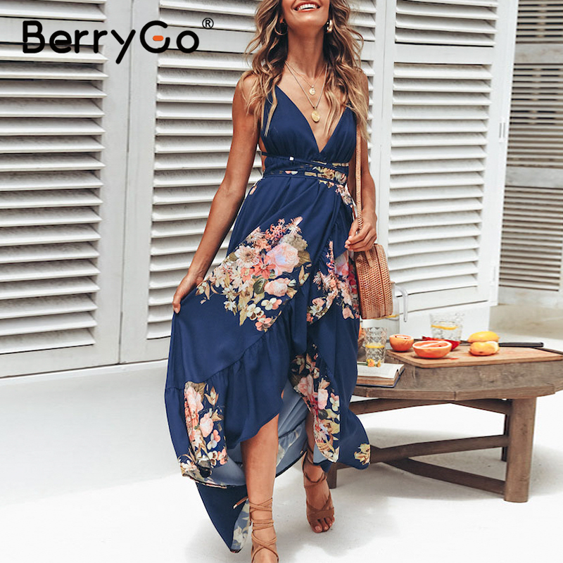BerryGo Sexy V Neck Backless Print Maxi Dress Women Lace Up Ruffled Floral Summer Dresses Holiday Beach Strap Long Dress 2020