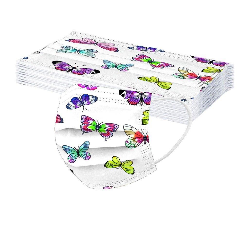 10 шт., детская 3d маска для улицы, Нетканая, с принтом бабочки, маска для лица, Пыленепроницаемая, многоразовая маска для рта, Mascarillas, для детей
