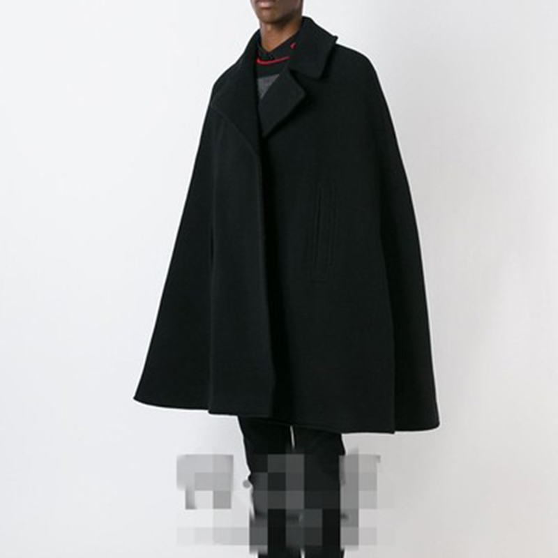 M-4XLWinter tide men's men's coat cloak cloak in the long section woolen student windbreaker woolen thick coat shawl