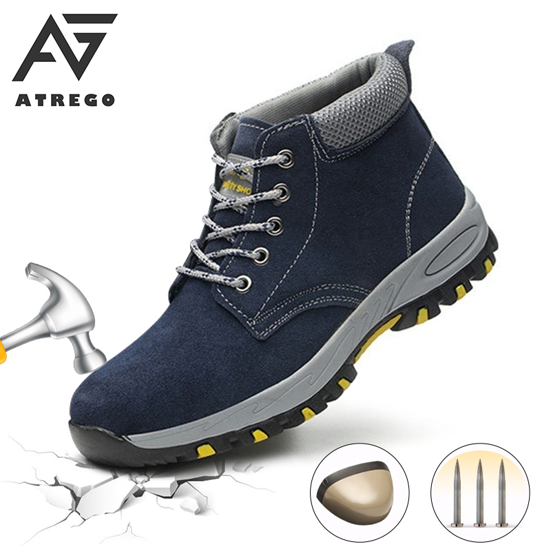 AtreGo Men Indestructible Shoes Cow Leather Ankle Boots High Top Steel Toe Cap Lightweight Walking Hike Work Safety Shoe