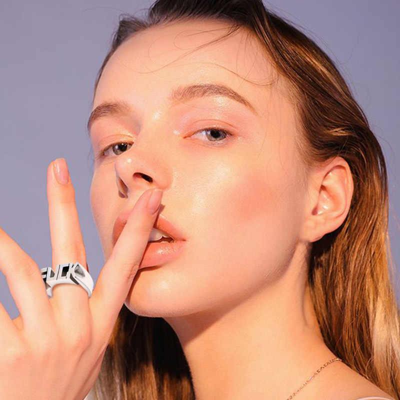Anéis de aço inoxidável do estilo do homem do anel da letra da forma infinita para o casamento das mulheres letras feitas sob encomenda iniciais anel f palavra estilo do punk