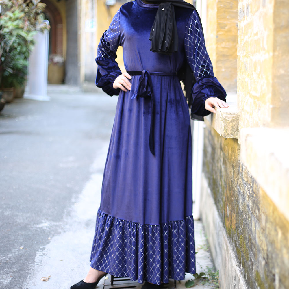 Women Hijab Muslim Dress Velvet Abaya Turkish Dresses Dubai Islamic Clothing Caftan Kaftan Islam Robe Vetement Femme Musulmane
