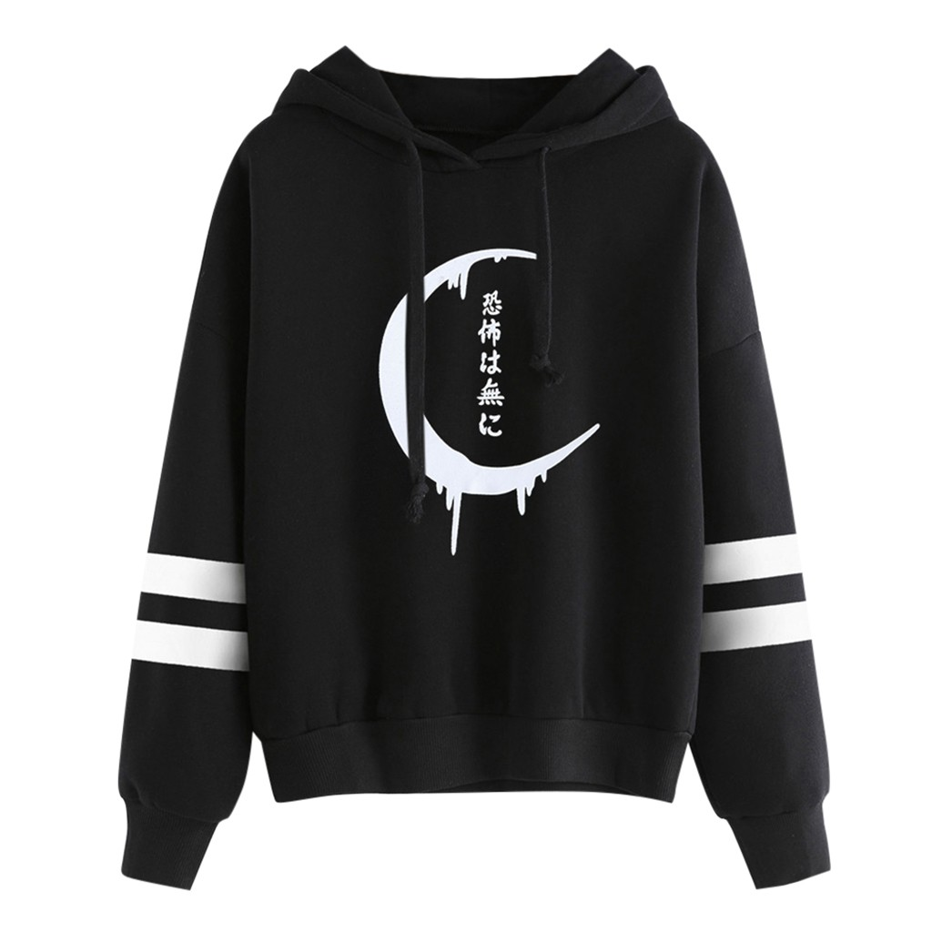 Gothic Punk Style Long Sleeve Womens Loose Hoodie Female Sweatshirt Hooded Pullover Drawstring Tops Sweatshirts Camisola Mujer