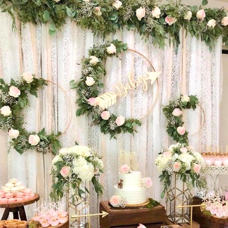 Iron Gold Metal-ring Dream Garland Flower Circle Hand Hold Wreath Wall Flower Rack Catcher Wedding Decoration Metal Bride Hoop