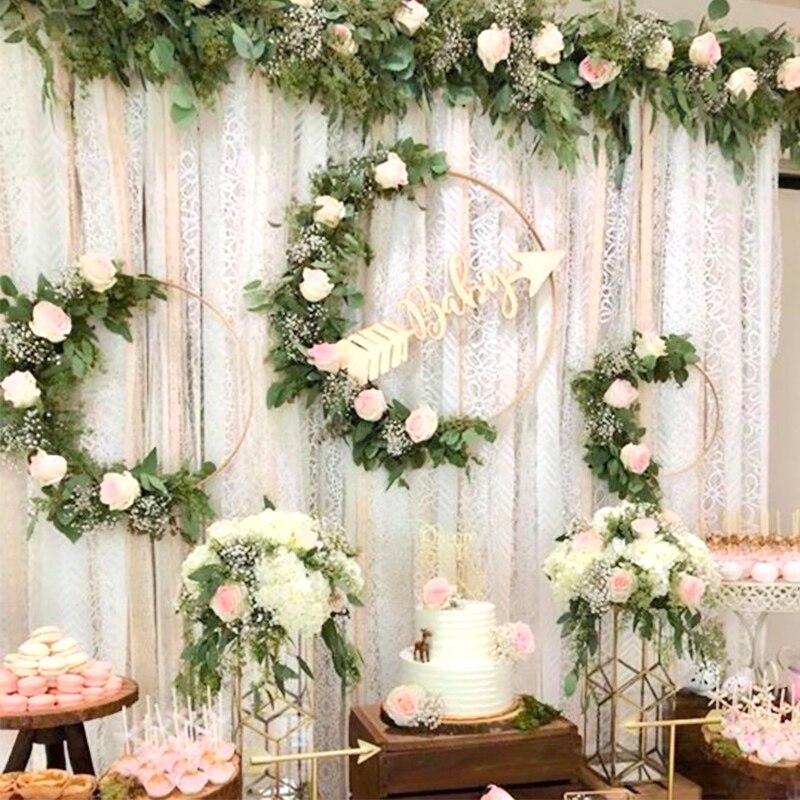 Iron Golden metal ring Portable garland Artificial flower Hand hold wreath Christmas facade rack Wedding bride decor girl