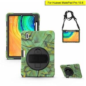 Для Huawei MatePad Pro 10,8 360 Вращающийся сверхпрочный защитный чехол с ручным или плечевым ремнем Гибридный противоударный чехол-подставка для дете...