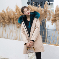 2019 Yiwu New Fresh Fashion Fox Fur Collar Fox Fur Liner Parka Coat Womens Coat With Fur Collar Real Fur Parka