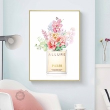Perfume COCO Peony Flower Wall Art Canvas Painting Nordic Posters And Prints Watercolor Wall Pictures For Living Room Wall Decor dispaint full square round drill 5d diy diamond painting animal squirrel 3d embroidery cross stitch 5d home decor a11973