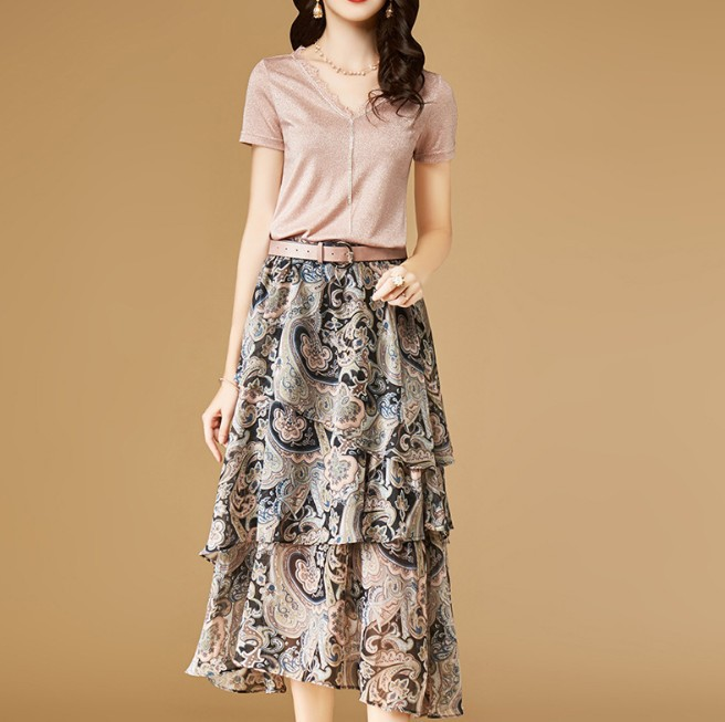 WOMEN'S Dress V-neck Lace Edge T-shirt Mid-length Printed Flounced Skirt Two-Piece Set 2018 Summer New Style