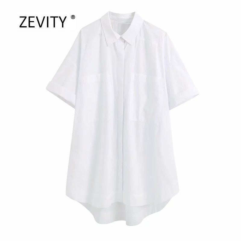 2020 women simply double pockets patch white poplin long smock blouse office ladies boyfriend style loose shirt chic tops LS6736