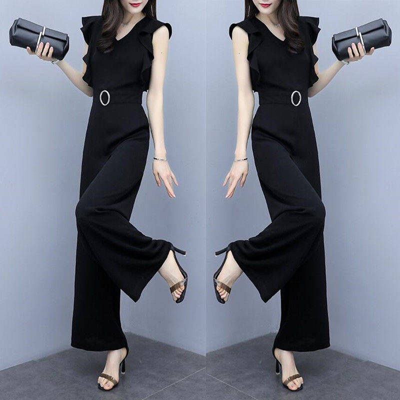Korean Elegant Sleeveless Overalls For Women Lotus Leaf Rompers Womens Jumpsuit Fashion Wide Leg Pants Jumpsuits