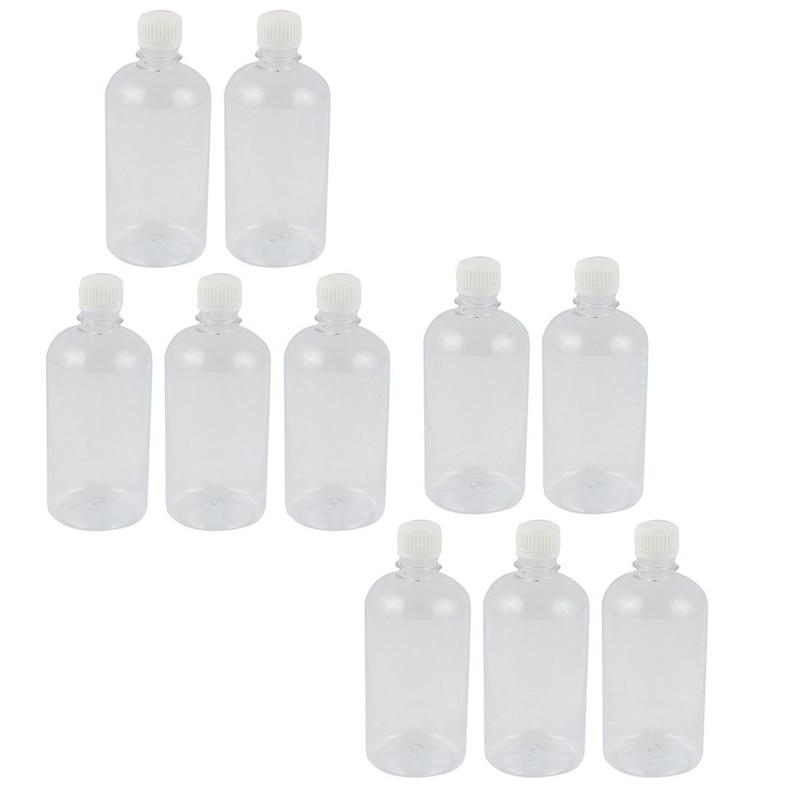 10Pcs 500ml Clear Plastic Lab Seal Reagent Bottle Chemical Graduation Sample Bottle