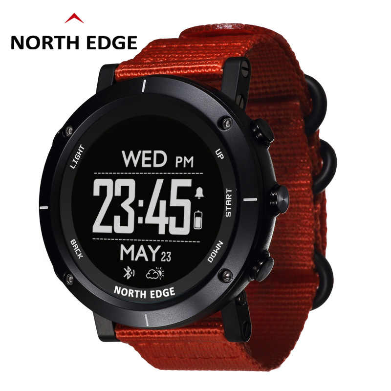 Man outdoor sport digital smart watch waterproof 50m fishing GPS Altimeter Barometer Thermometer Compass Altitude NORTH EDGE
