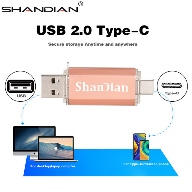 SHANDIAN Real capacity Flash Drive 64G 8G TYPE-C micro-usb 3 IN 1 pen Drive 32G 16G usb Smart Phone thumb pendrive memory 2