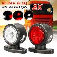 2 pces 12v 24v carro caminhão led vermelho branco lado marcador luz sinal esboço lâmpadas para suv caminhão caminhão rv ônibus barco reboque