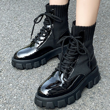 2020 Women Winter Boots Lace Up Gothic Black Sock Platform Boots Leather Ankle Boots Women Shoes Fashion Botas Mujer BB-25 prova perfetto black ankle boots for women rivets studded flat autumn botas mujer genuine leather platform rubber martin boots