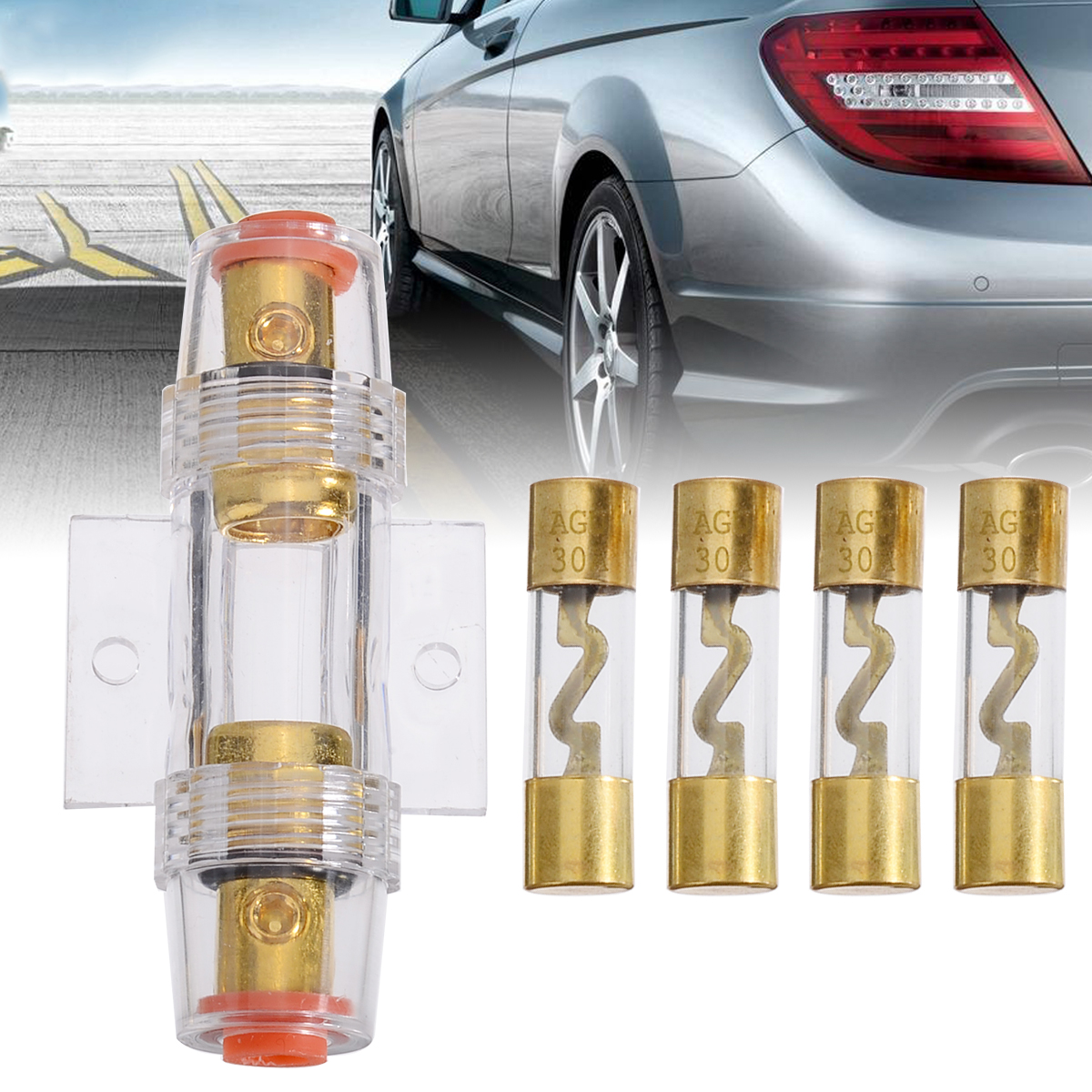 New Arrival 1pcs 30A Car Audio AGU Fuse Holder with 4 30A Fuses For Car Audio Refit Fuse Holder Car Stereo Audio Circuit