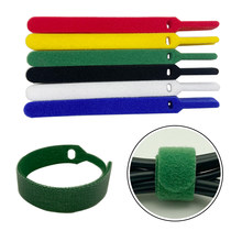 30pcs 1.2X15CM Adhesive Fastener Tape Reusable ties Hook and Loop fastener Tape Nylon velcros Cable Ties velcros Strap wire
