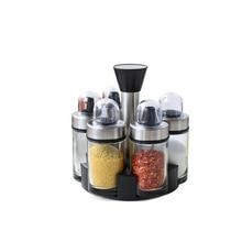 Kitchen Glass Spice Box Seasoning Jar Spice Jar Seasoning Bottle Combination Set Rotary with Shelf