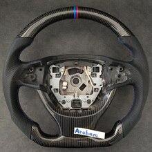 탄소 섬유 가죽 스티어링 휠 BMW 1 2 3 4 5 7 시리즈 X1 X3 X5 X6 E90 E92 E60 F10 F30 M 시리즈 교체 액세서리