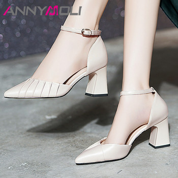 ANNYMOLI Ankle Strap Women Pumps Genuine Leather High Heel Shoes Pointed Toe Thick Heels Footwear Ladies Summer Black Size 43